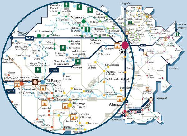 Mapa de Soria y, ampliado, entorno del Burgo de Osma (Patronato de Turismo de Soria)