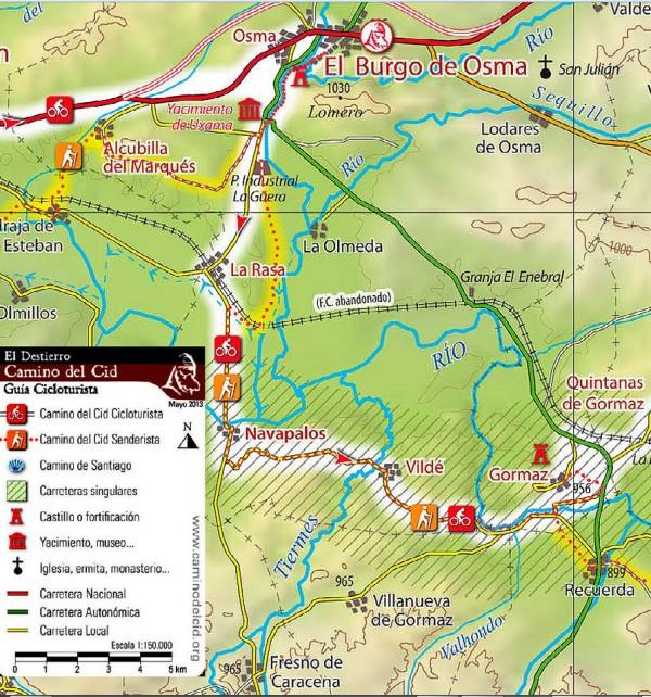 Tramo Camino del Cid desde Burgo de Osma a Gormaz